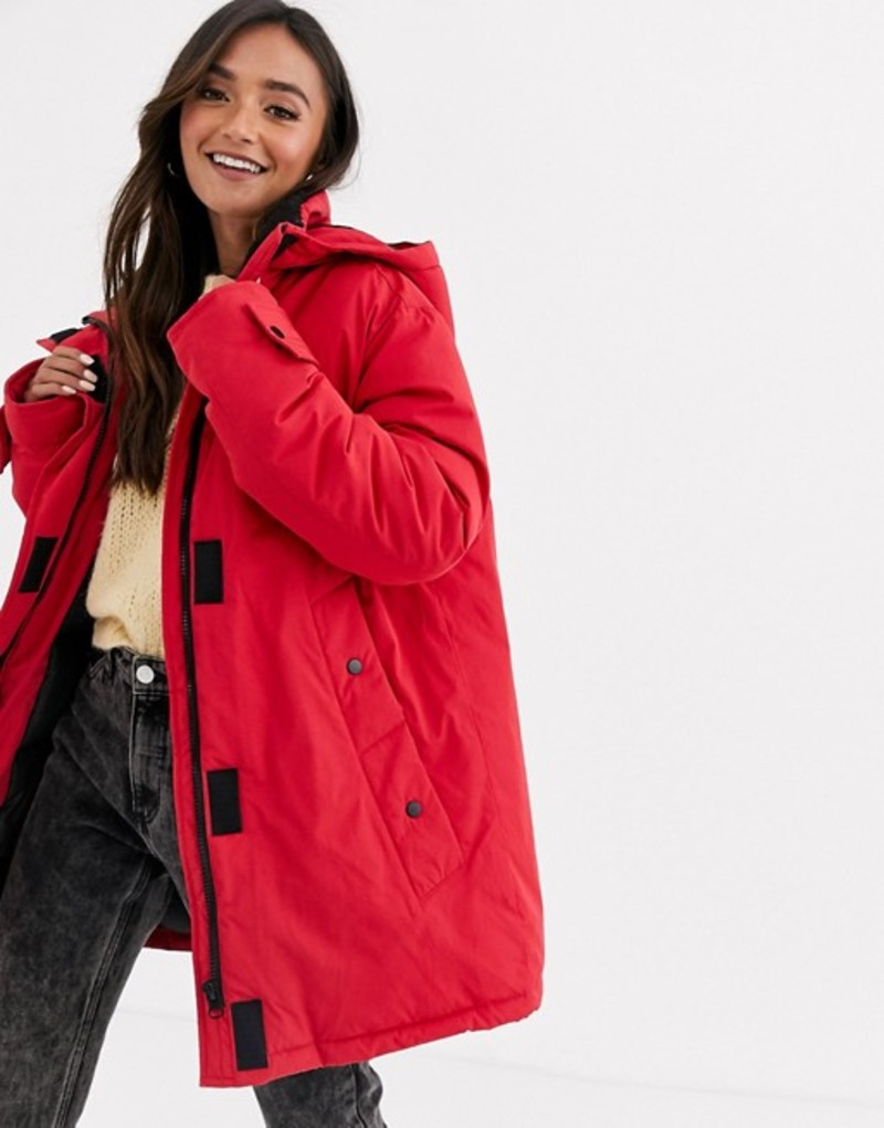 エイソス レディース コート アウター ASOS DESIGN fleece lined anorak coat in red Red