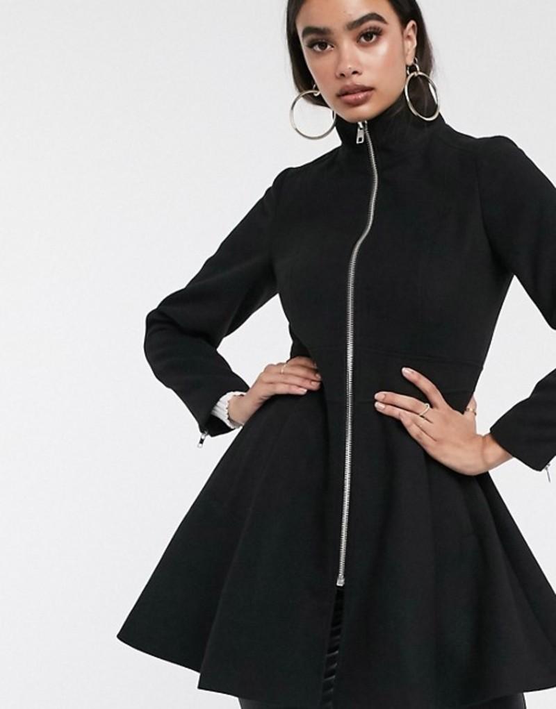 エイソス レディース コート アウター ASOS DESIGN swing coat with zip front detail in black Black