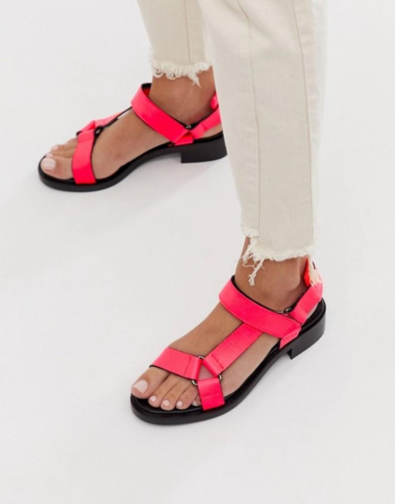エイソス レディース サンダル シューズ ASOS WHITE Bluebell leather sporty sandals in neon pink Neon pink