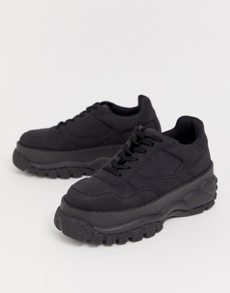 エイソス レディース スニーカー シューズ ASOS DESIGN Denmark chunky sneakers in black Black
