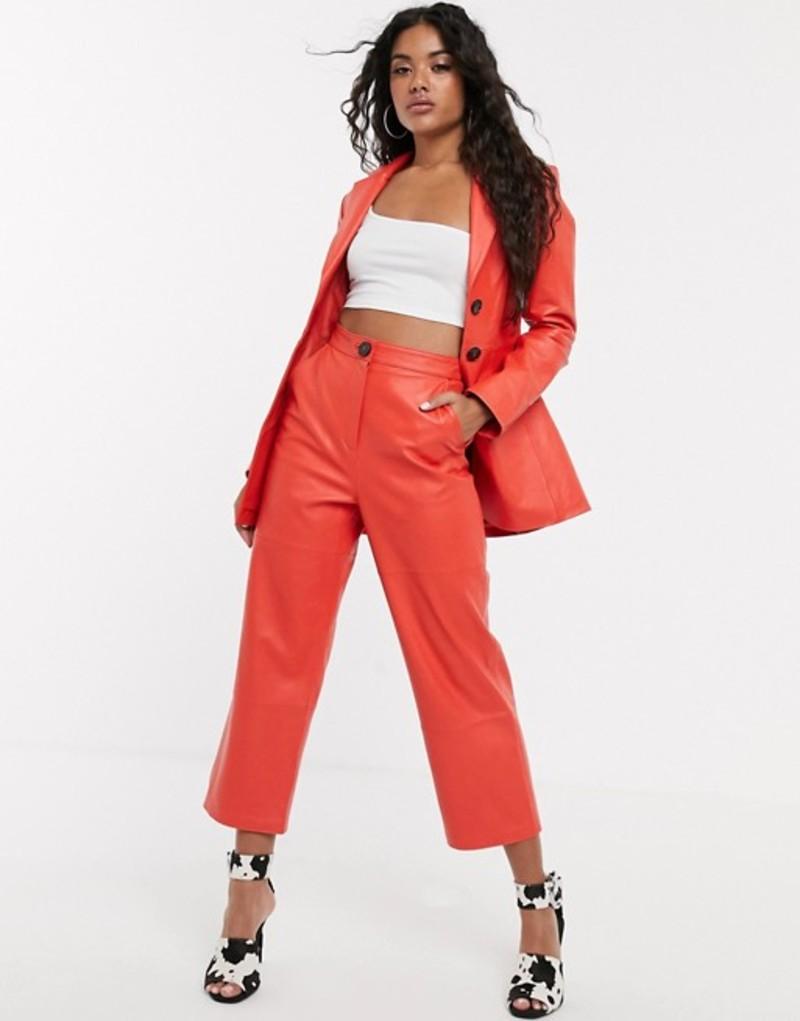 エイソス レディース カジュアルパンツ ボトムス ASOS DESIGN premium leather high waist straight leg pants Red