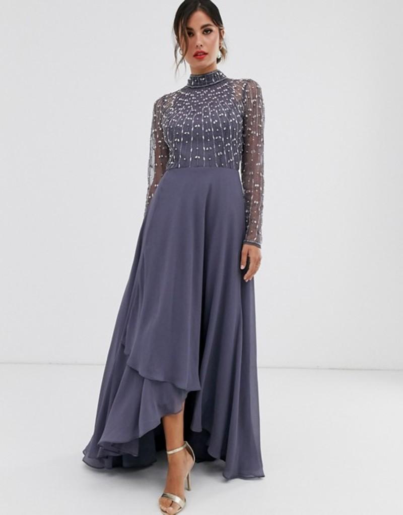 エイソス レディース ワンピース トップス ASOS DESIGN maxi dress with linear embellished bodice and wrap skirt Dark grey