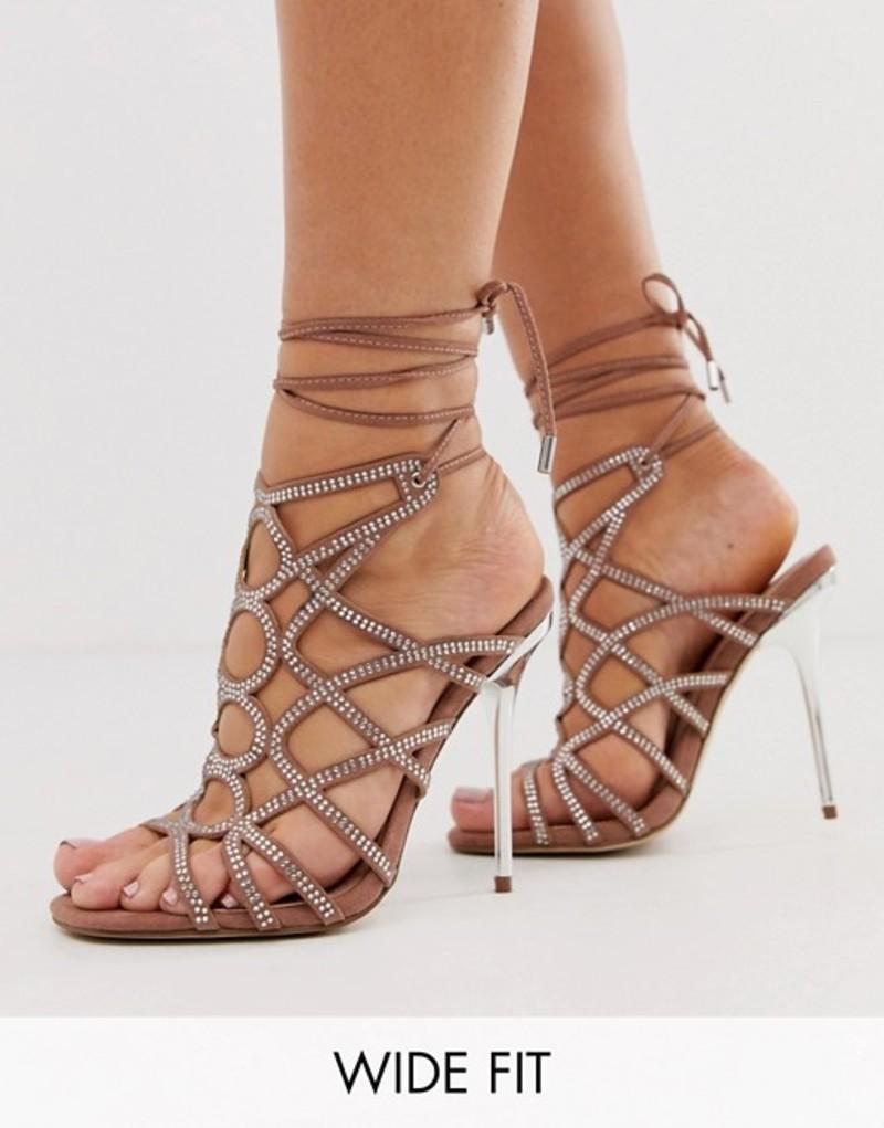 エイソス レディース サンダル シューズ ASOS DESIGN Wide Fit Winged rhinestone caged heeled sandals Beige