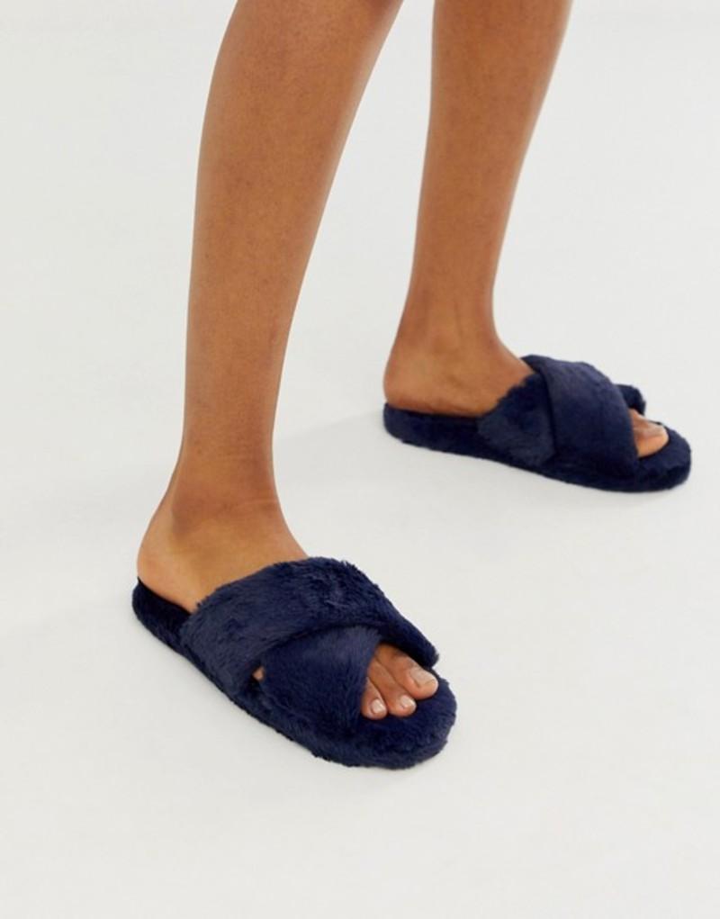 エイソス レディース パンプス シューズ ASOS DESIGN Neve cross strap slider slippers in navy Navy