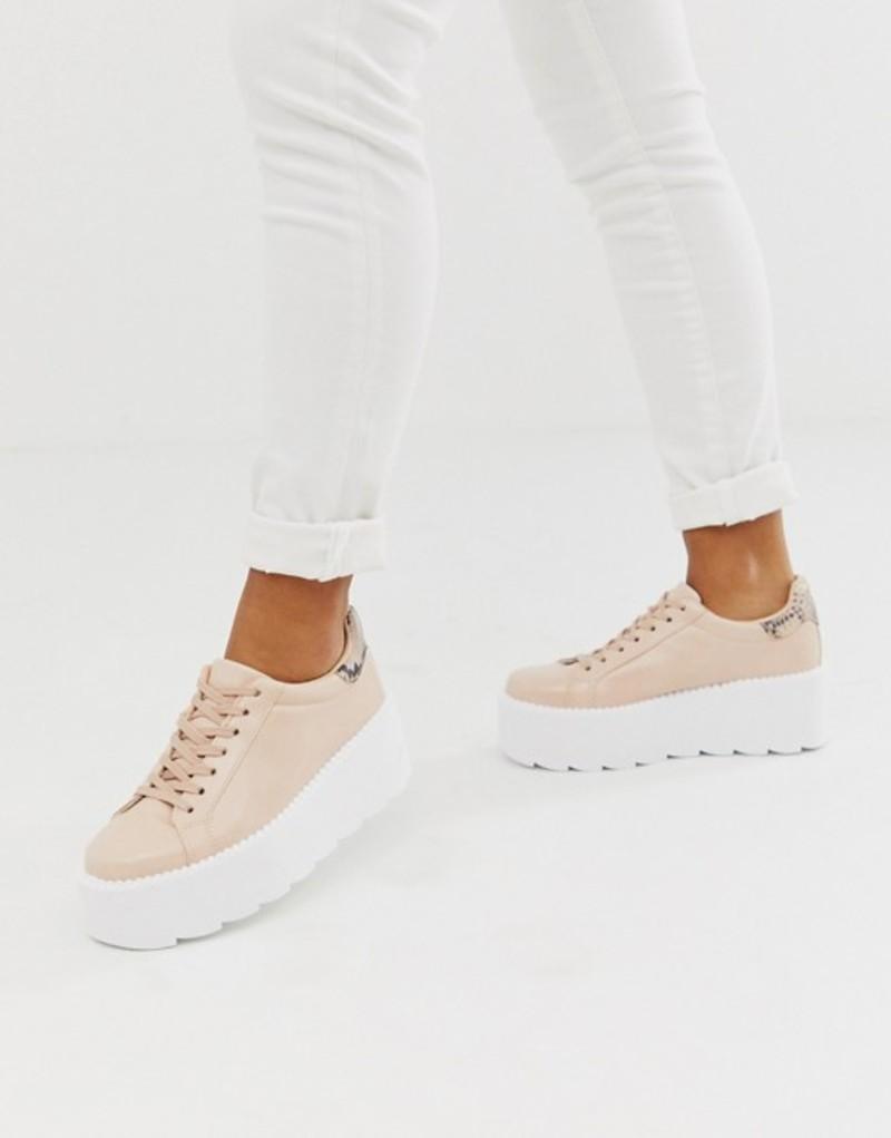エイソス レディース スニーカー シューズ ASOS DESIGN December chunky sneakers in beige and snake Nude mix