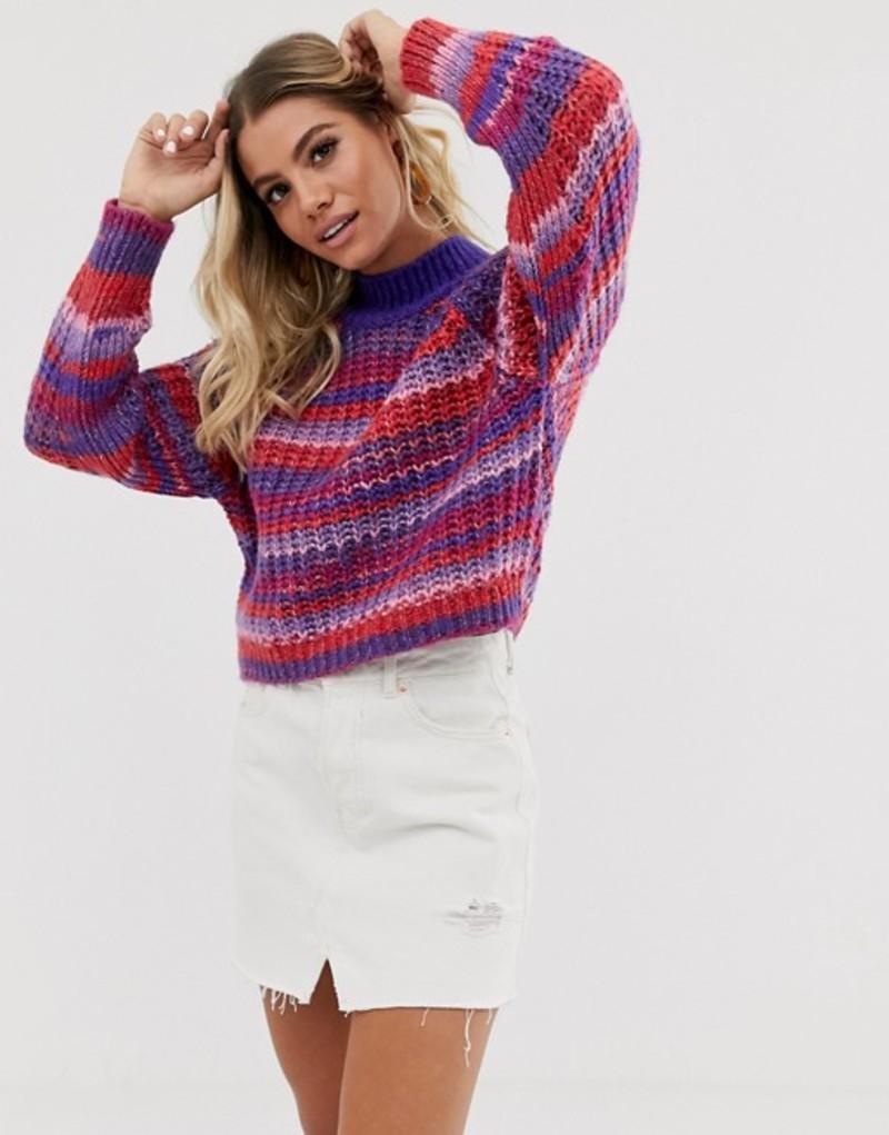 エイソス レディース ニット・セーター アウター ASOS DESIGN stripe sweater with high neck in lofty yarn Multi