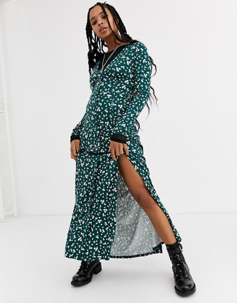 エイソス レディース ワンピース トップス ASOS DESIGN long sleeve button through maxi tea dress with splits in ditsy print Green ditsy