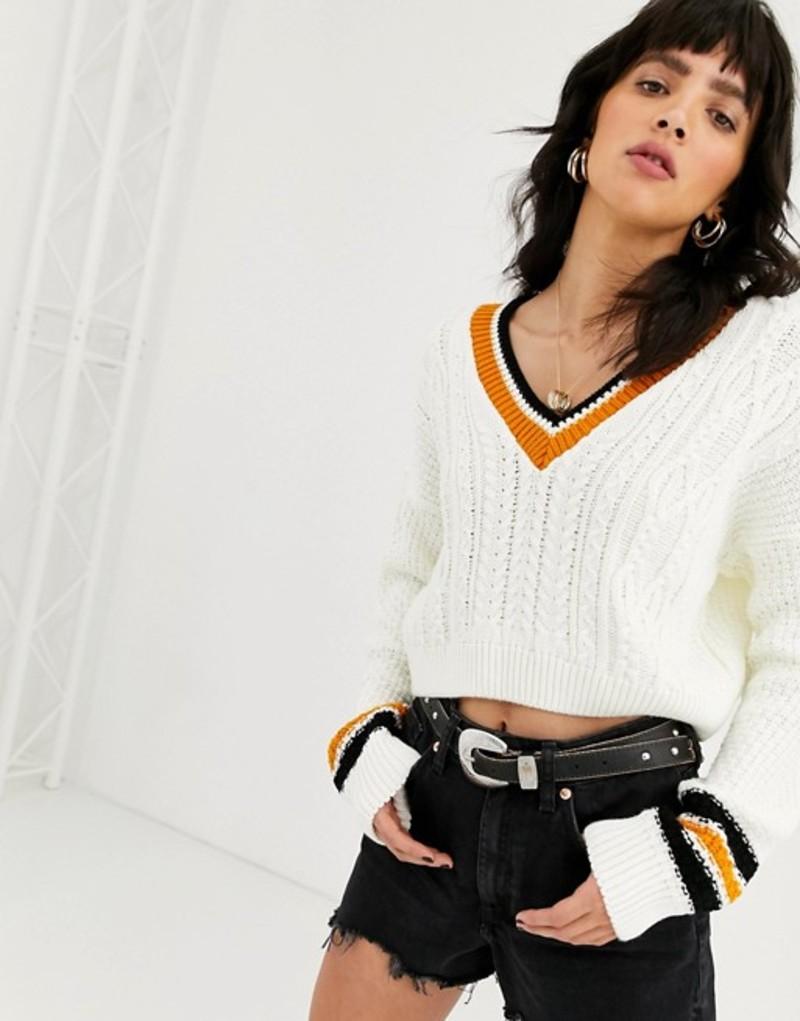 エイソス レディース ニット・セーター アウター ASOS DESIGN v neck sweater with tipping Cream