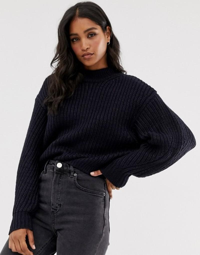 エイソス レディース ニット・セーター アウター ASOS DESIGN chunky sweater with crew neck Navy