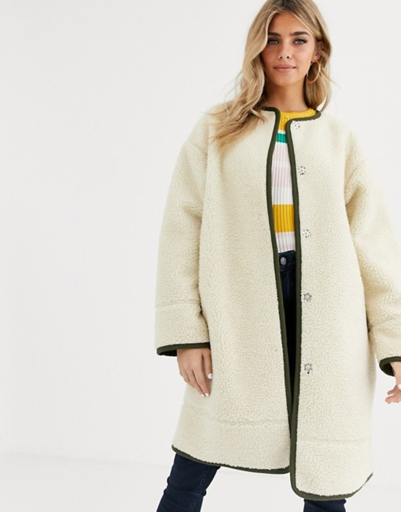 エイソス レディース コート アウター ASOS DESIGN collarless borg coat with seam detail in cream Cream