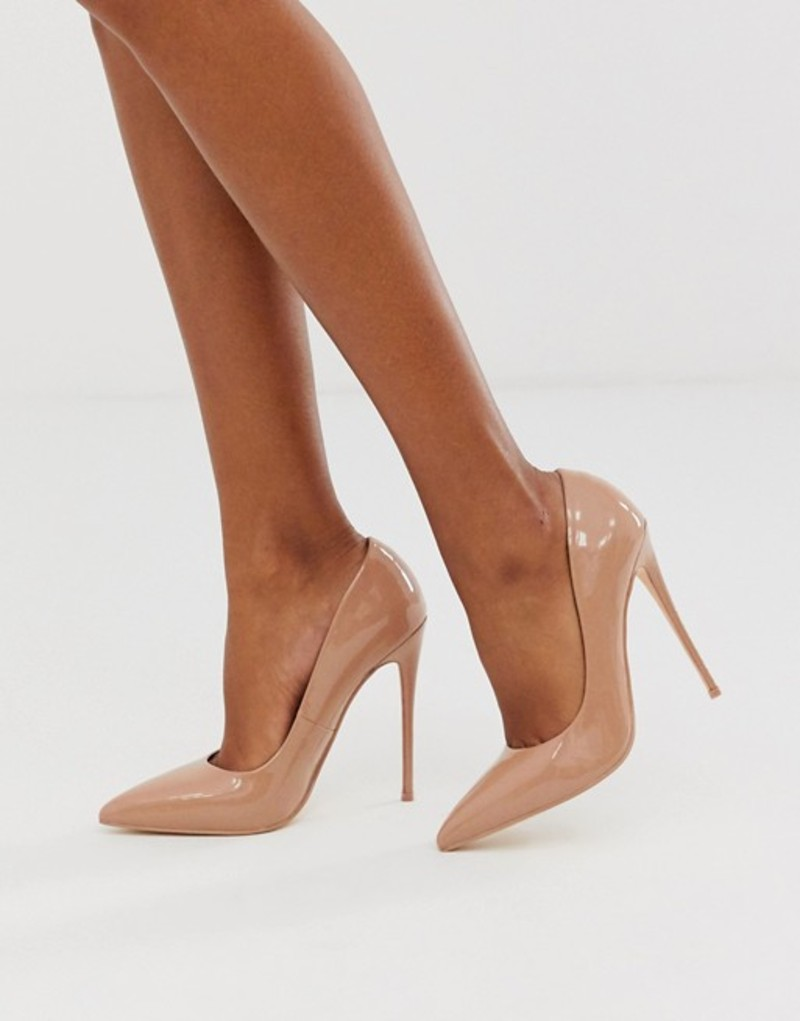 エイソス レディース ヒール シューズ ASOS DESIGN Penelope stiletto pumps in beige patent Almond pat