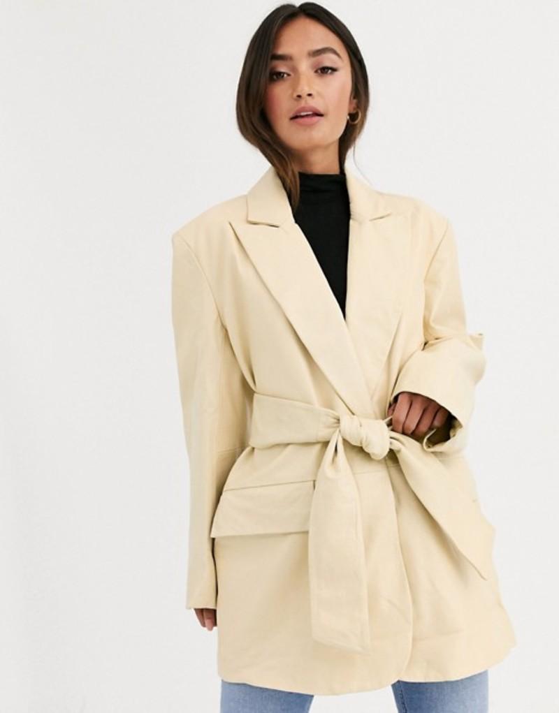 エイソス レディース ジャケット・ブルゾン アウター ASOS DESIGN leather grandad jacket in lemon Lemon