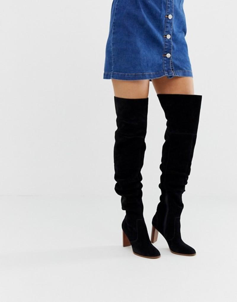 エイソス レディース ブーツ・レインブーツ シューズ ASOS DESIGN Kentucky premium suede slouch thigh high boots in black Black