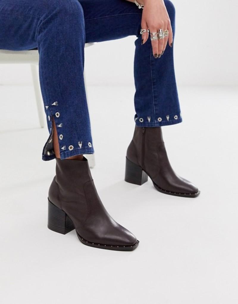 エイソス レディース ブーツ・レインブーツ シューズ ASOS DESIGN Restore leather studded block heel boots in brown Brown leather