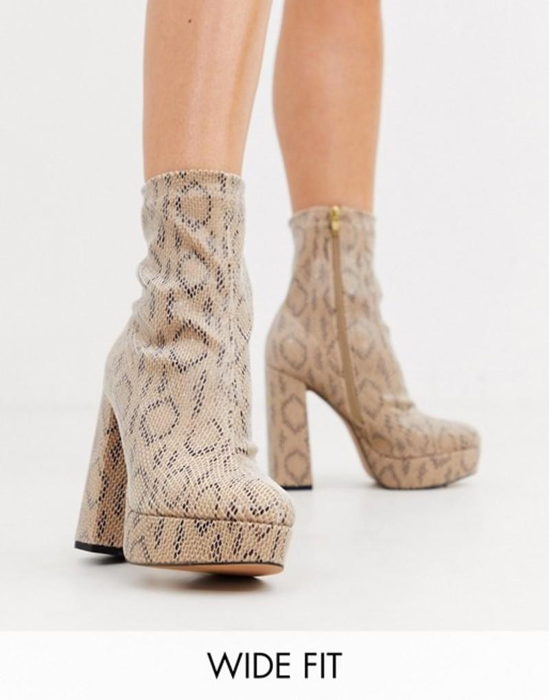 エイソス レディース ブーツ・レインブーツ シューズ ASOS DESIGN Wide Fit Blake platform sock boots in snake Snake
