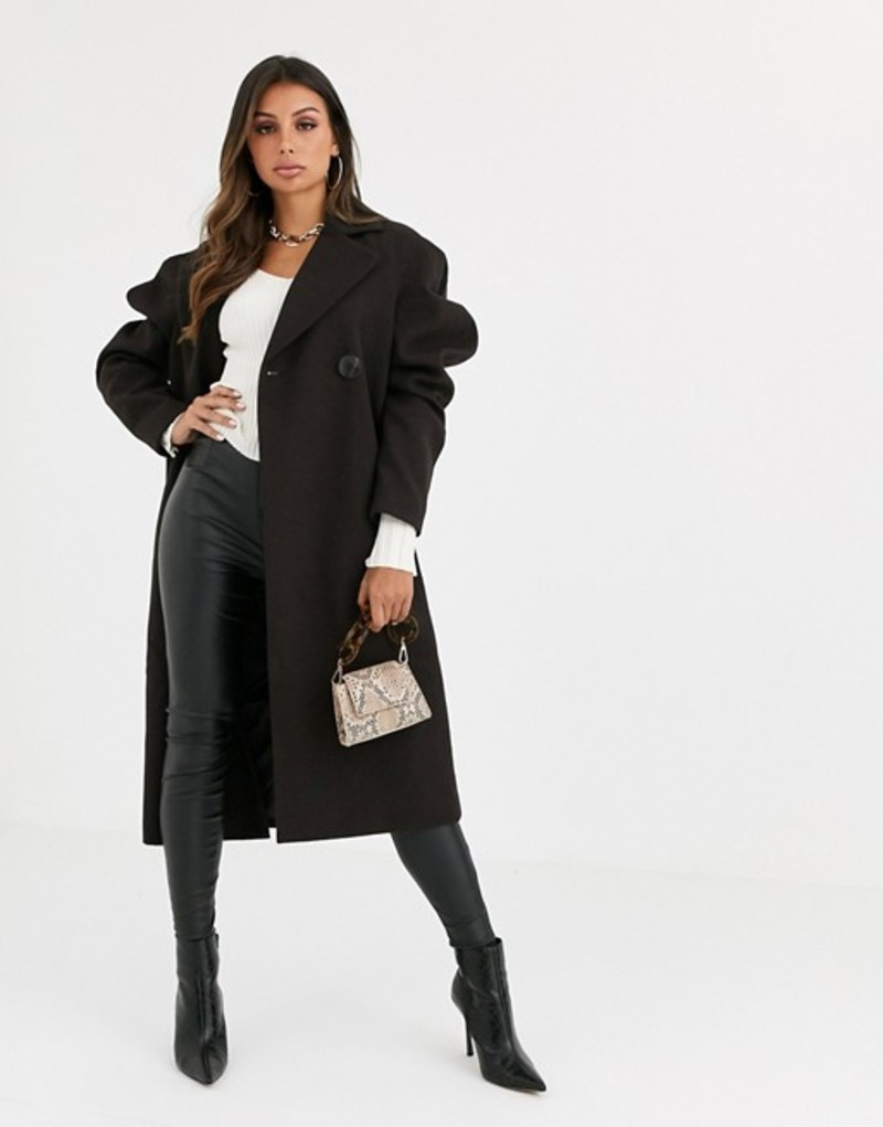 エイソス レディース コート アウター ASOS DESIGN extreme sleeve coat in dark chocolate Dark chocolate