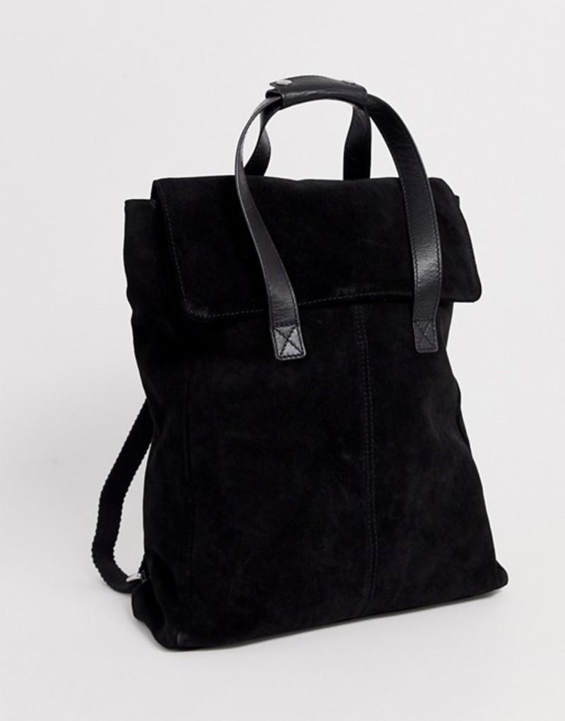 エイソス レディース バックパック・リュックサック バッグ ASOS DESIGN suede backpack with double handle Black