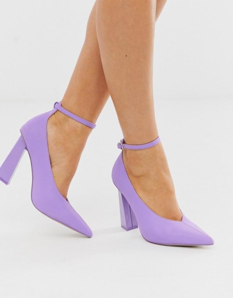 エイソス レディース ヒール シューズ ASOS DESIGN Plush reflective pointed high heels in lilac Lilac