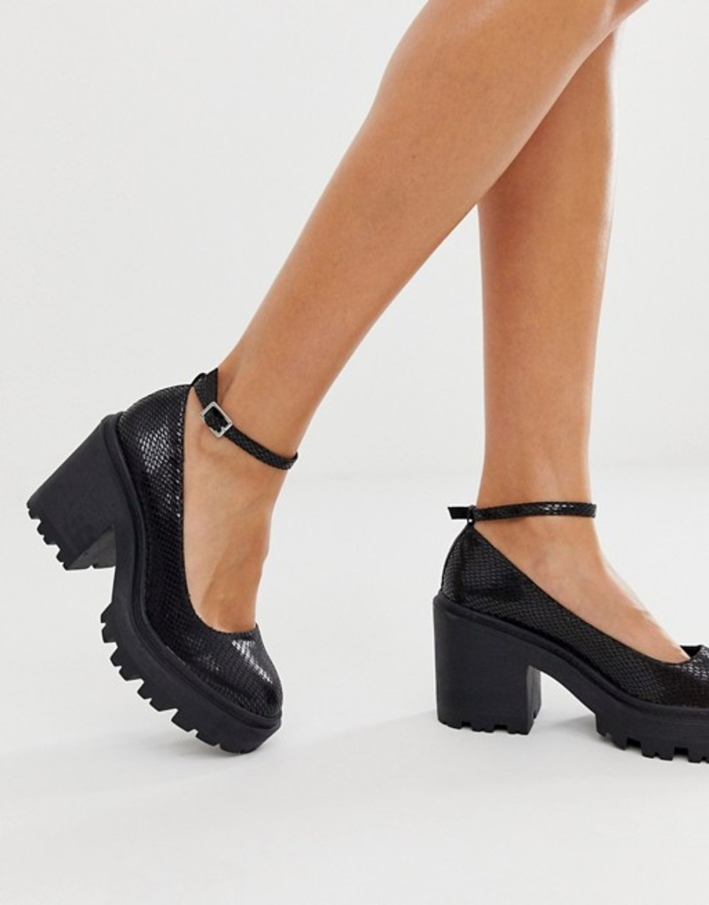 エイソス レディース ヒール シューズ ASOS DESIGN Summit chunky heels in black snake Black snake