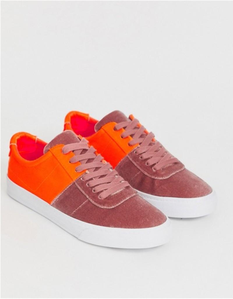 エイソス レディース スニーカー シューズ ASOS DESIGN Dollis lace up sneakers in beige velvet and neon orange Beige/orange