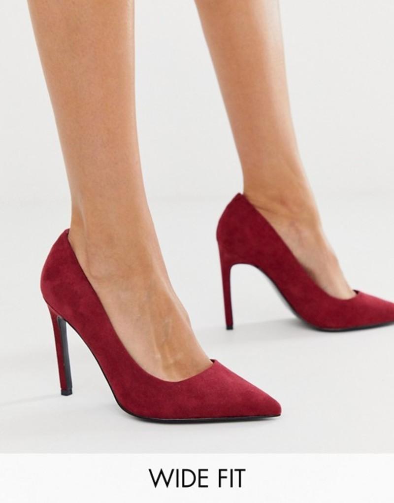 エイソス レディース ヒール シューズ ASOS DESIGN Wide Fit Porto pointed high heeled pumps in burgundy Burgundy