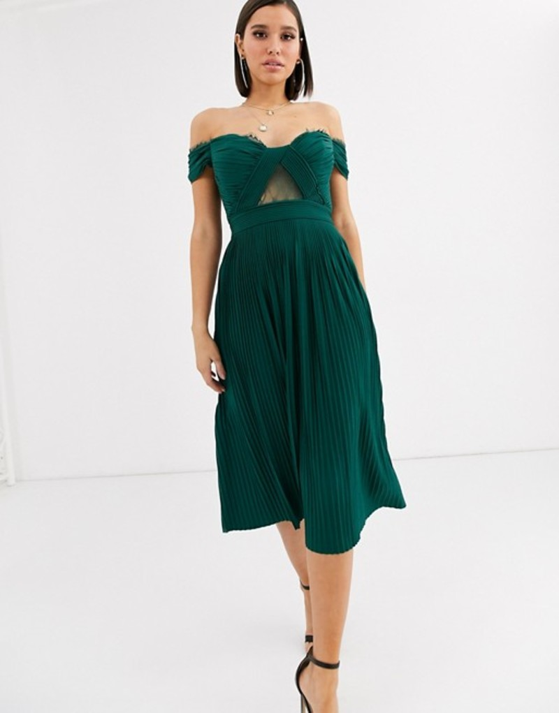 エイソス レディース ワンピース トップス ASOS DESIGN lace and pleat bardot midi dress Forest green