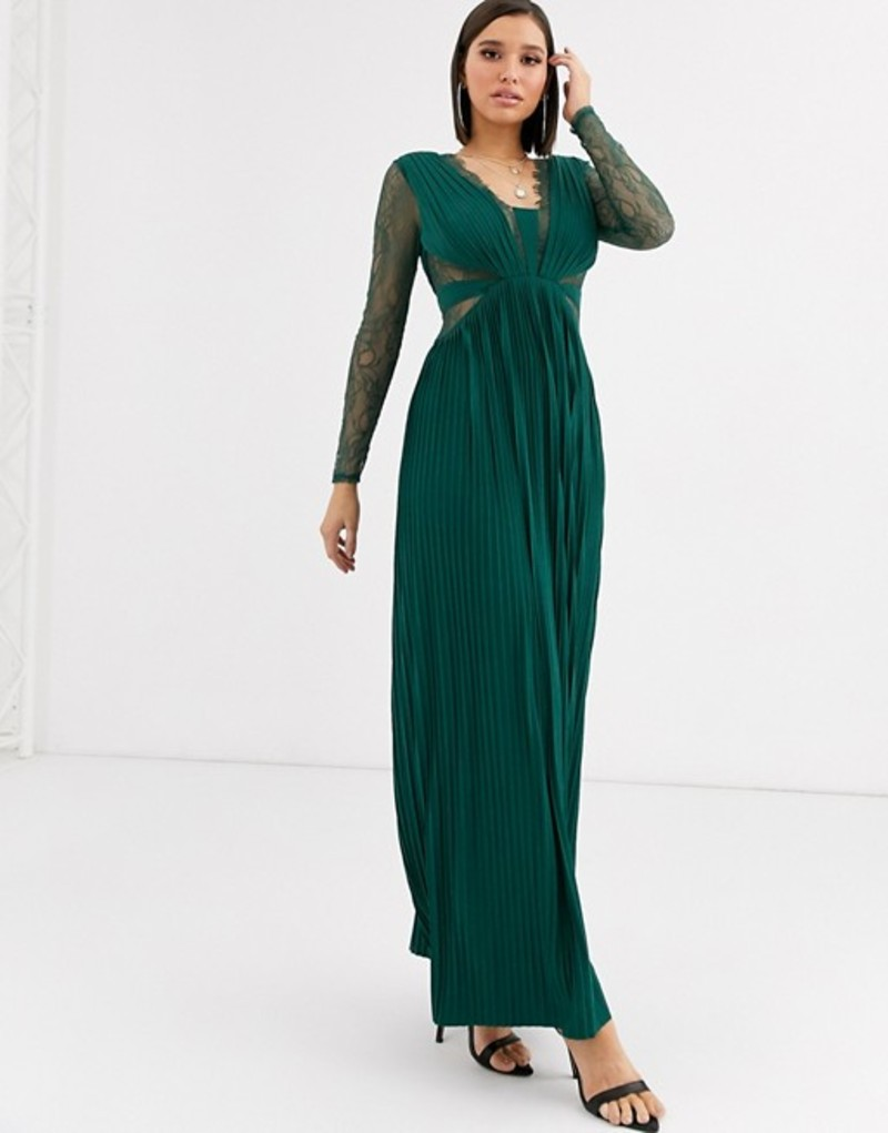 エイソス レディース ワンピース トップス ASOS DESIGN lace and pleat long sleeve maxi dress Forest green