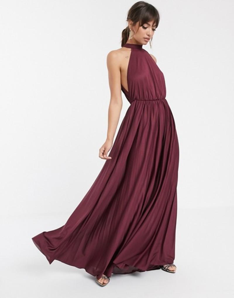 エイソス レディース ワンピース トップス ASOS DESIGN Halter Pleated Waisted Maxi Dress Plum