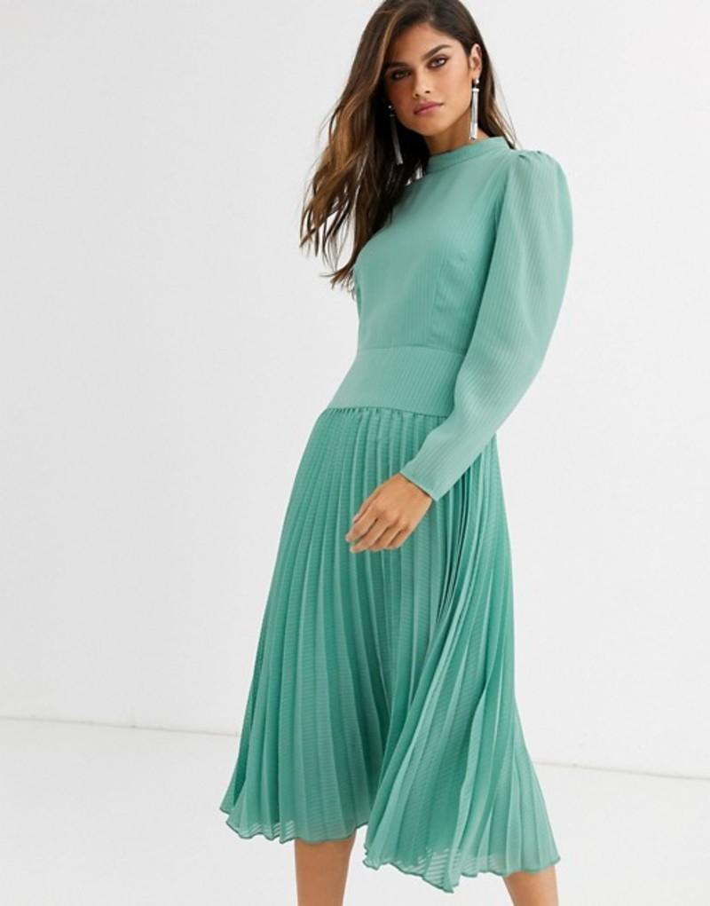 エイソス レディース ワンピース トップス ASOS DESIGN high neck pleated midi dress with long sleeves Sage green