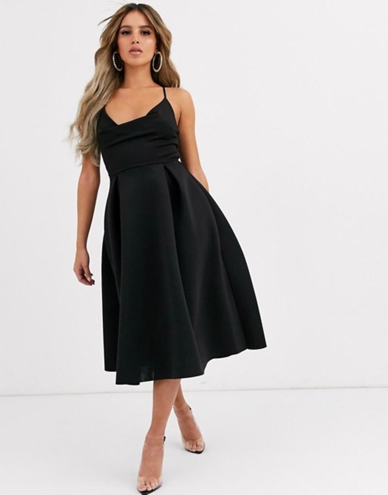 エイソス レディース ワンピース トップス ASOS DESIGN cowl neck cami midi prom dress Black