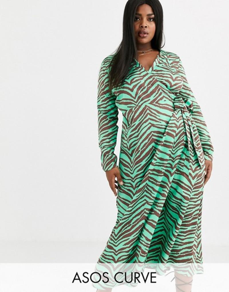 エイソス レディース ワンピース トップス ASOS DESIGN Curve wrap maxi dress in zebra print Green/brown zebra