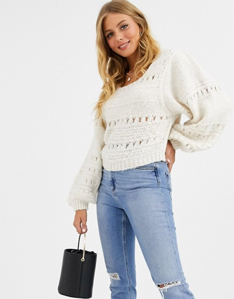 エイソス レディース ニット・セーター アウター ASOS DESIGN stitch detail square neck sweater with volume sleeve Cream