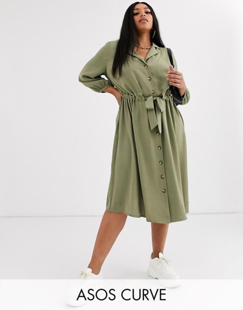 エイソス レディース ワンピース トップス ASOS DESIGN Curve button through midi shirt dress with ruched waist Light khaki