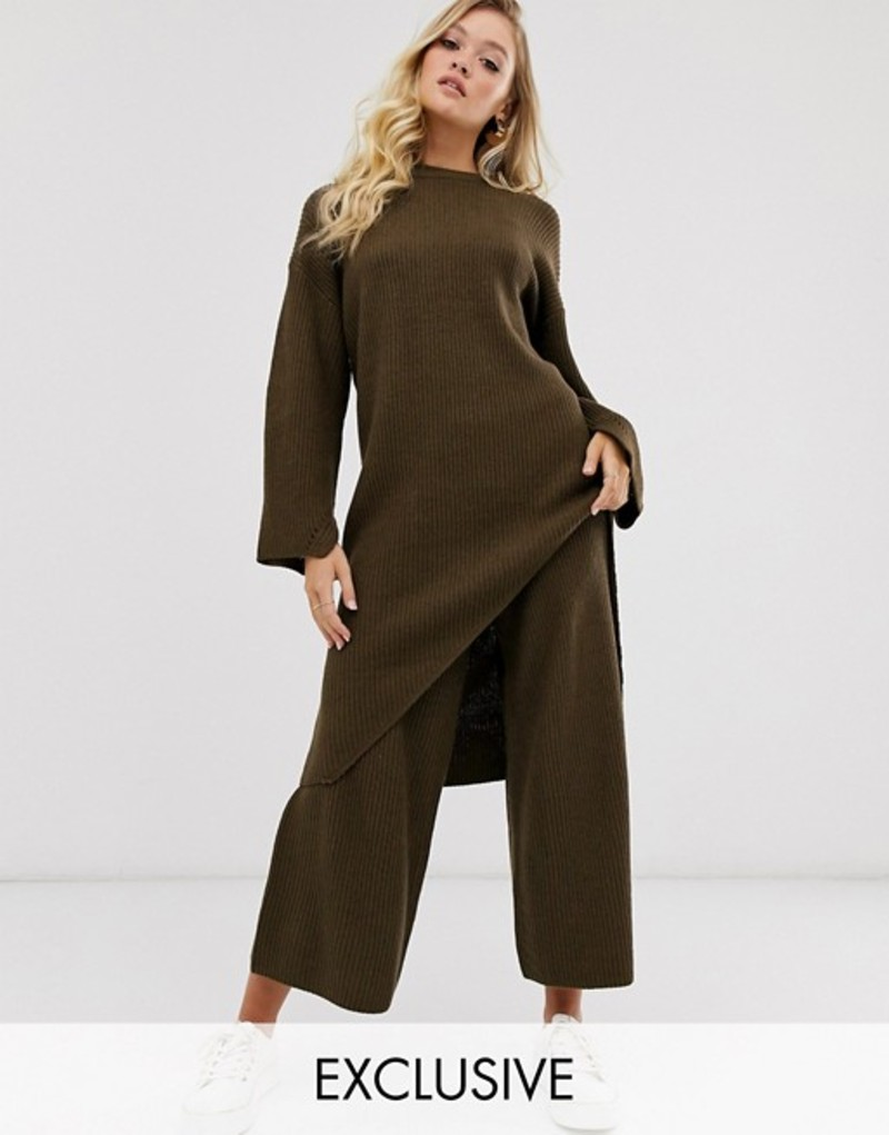 ミチャラウンジ レディース カジュアルパンツ ボトムス Micha Lounge wide leg culotte pants two-piece Brown
