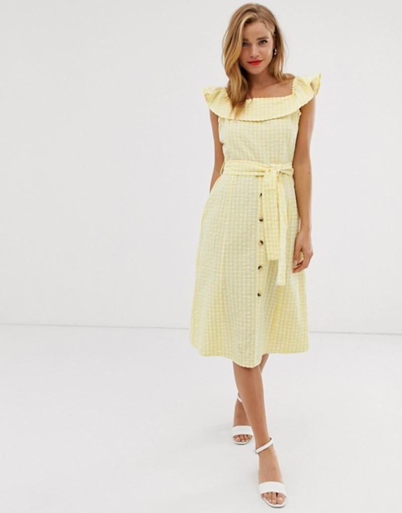 ブーフー レディース ワンピース トップス Boohoo midi dress with square neck and ruffle trim in yellow gingham Multi