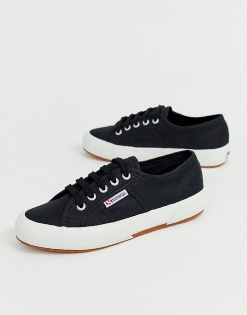 スペルガ レディース スニーカー シューズ Superga Cotu Classic 2750 black canvas sneakers Black/white