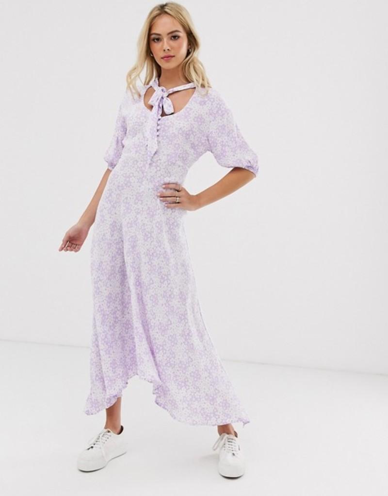 ゴースト レディース ワンピース トップス Ghost hanky hem floral midi dress with button front and tie neck Lilian floral