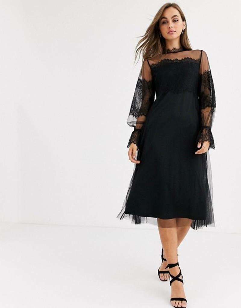 ピーシーズ レディース ワンピース トップス Pieces mesh lace high neck midi dress in black Black