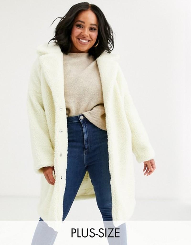 グラマラス レディース コート アウター Glamorous Curve teddy coat Cream