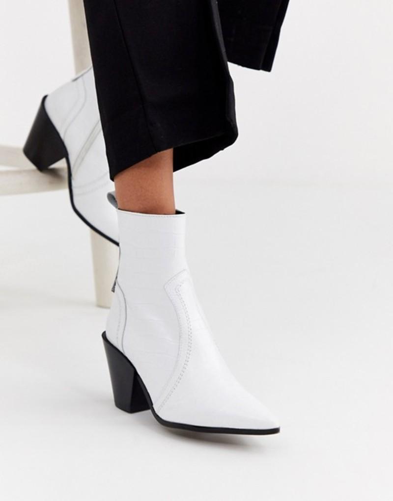 オフィス レディース ブーツ・レインブーツ シューズ Office Avail western cone heel leather boot White croc