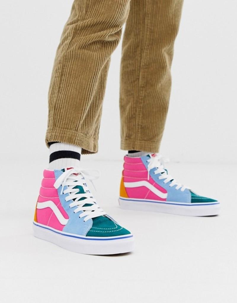 バンズ レディース スニーカー シューズ Vans SK8-Hi frayed color block sneakers Frayed laces creme d