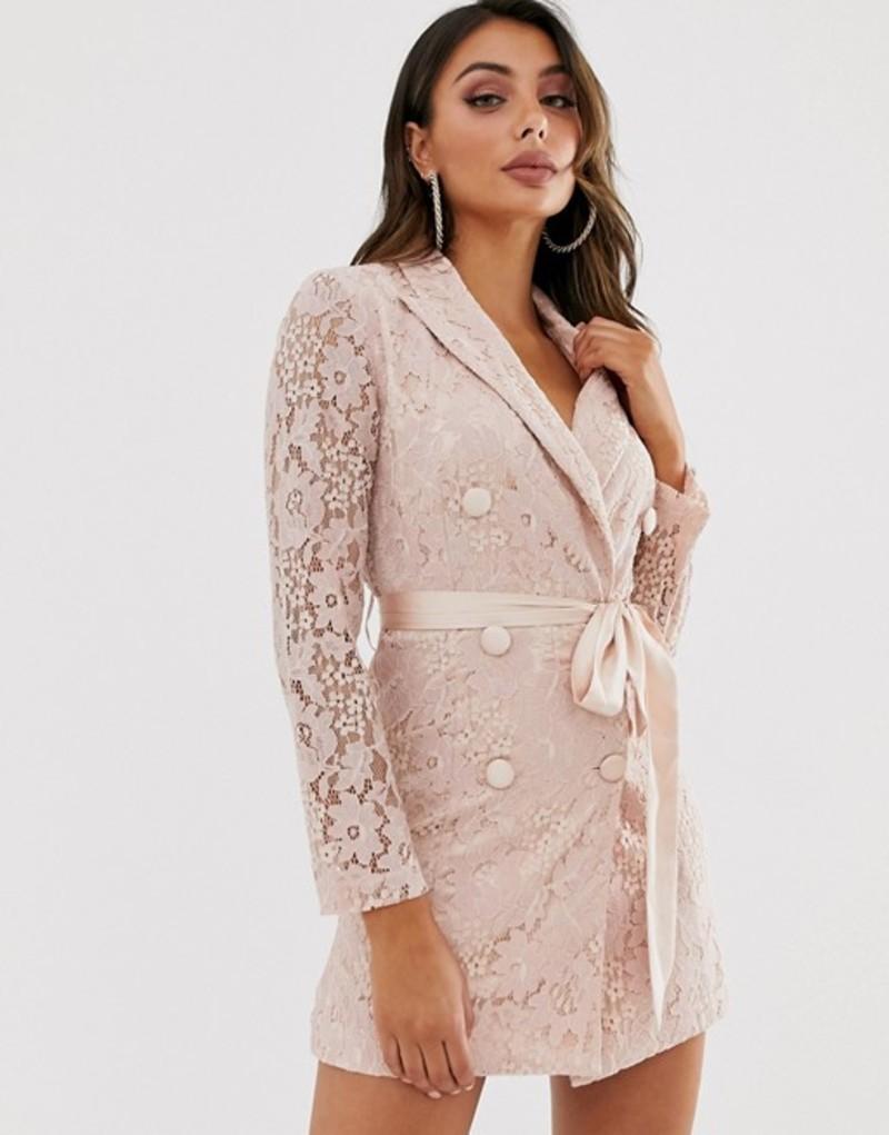 ラブトライアングル レディース ワンピース トップス Love Triangle lace blazer dress with ribbon detail in taupe Taupe