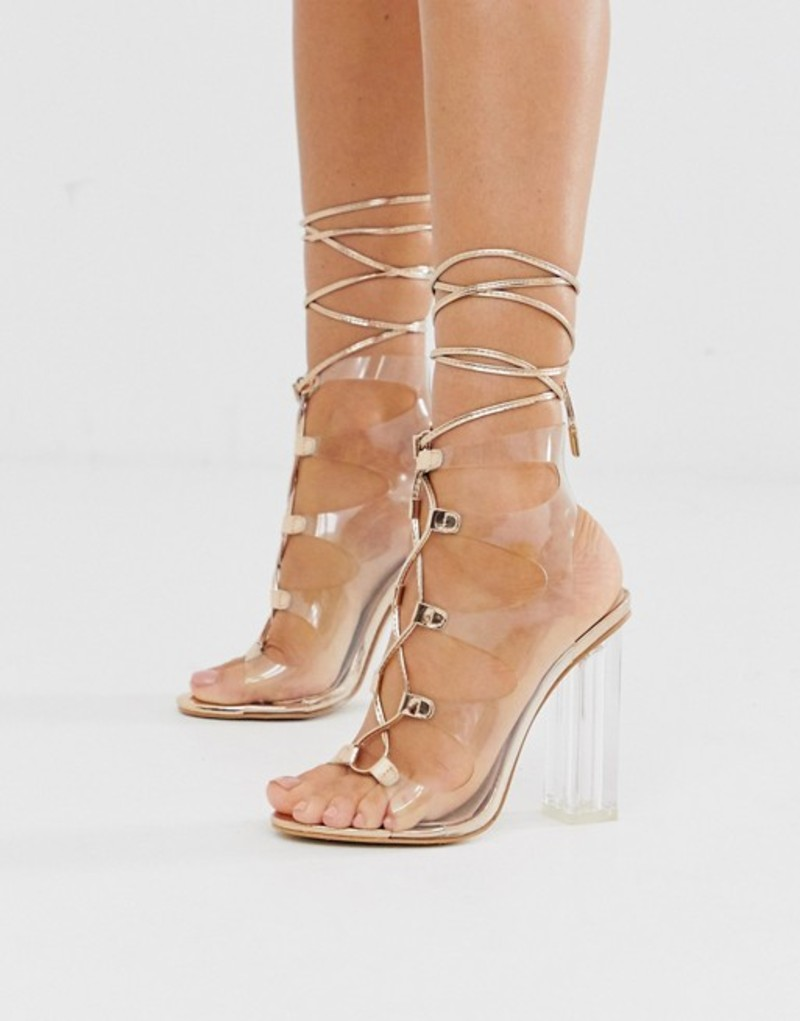 パブリックデザイア レディース サンダル シューズ Public Desire Mango clear lace up block heeled sandals in rose gold Rose gold