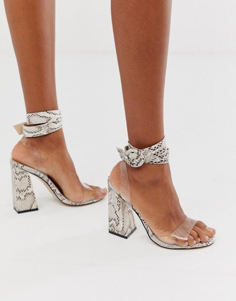 パブリックデザイア レディース ヒール シューズ Public Desire Commit flared block heeled sandals in natural snake Red croc