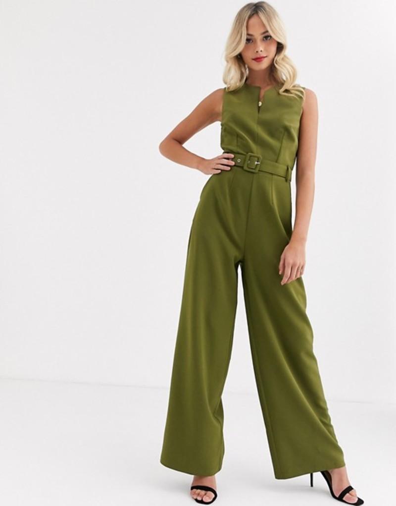ペーパードールズ レディース ワンピース トップス Paper Dolls tie waist wide leg jumpsuit in olive Olive