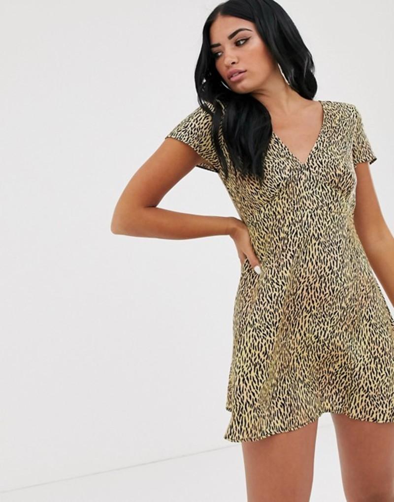 モーテル レディース ワンピース トップス Motel mini dress in tiger print Mini tiger