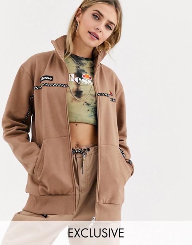 エレッセ レディース ジャケット・ブルゾン アウター Ellesse tracksuit jacket with geo print taping two-piece Brown