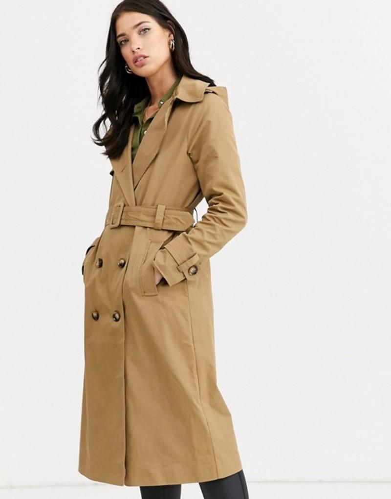 ファッションモンキー レディース コート アウター Fashion Union double breasted hooded trench coat with check lining Beige