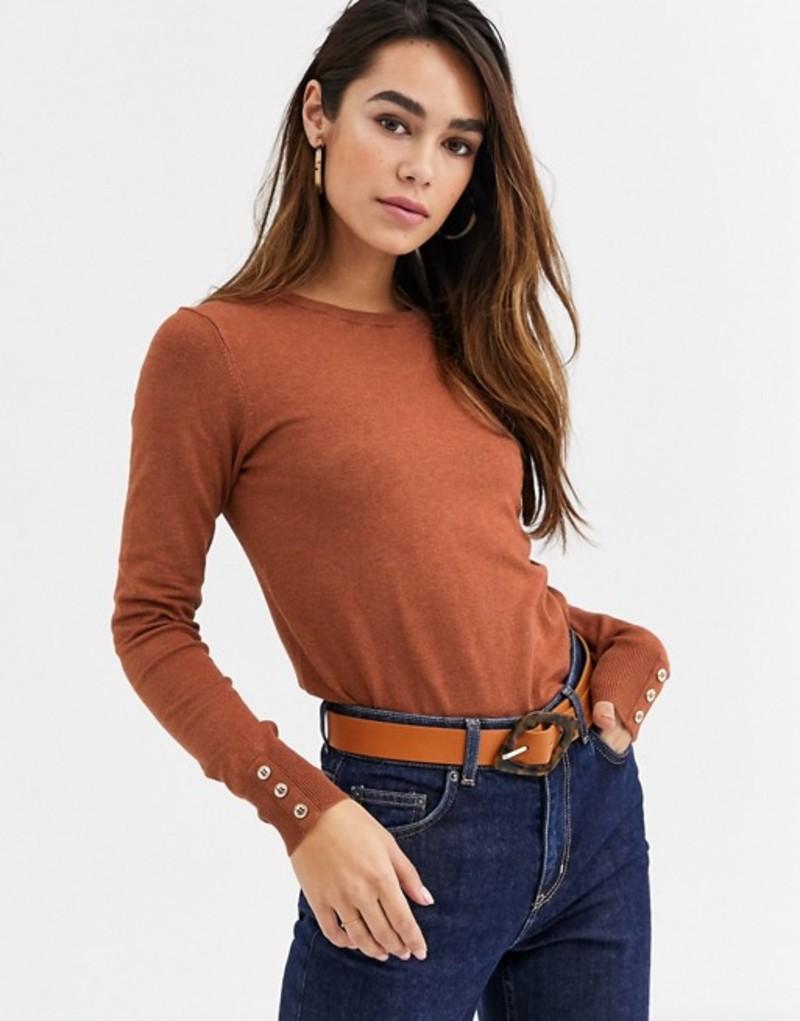 ウエアハウス レディース ニット・セーター アウター Warehouse sweater with button cuffs in tan Tan