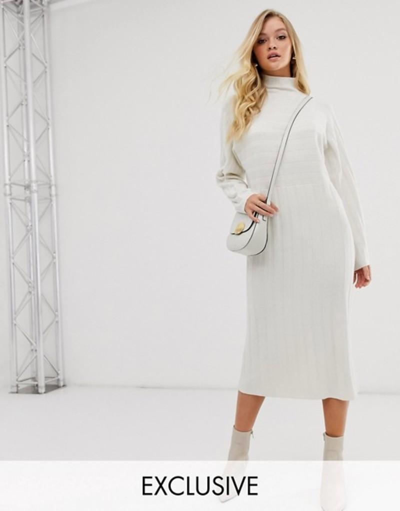 ミチャラウンジ レディース ワンピース トップス Micha Lounge high neck sweater dress in wide rib knit Cream
